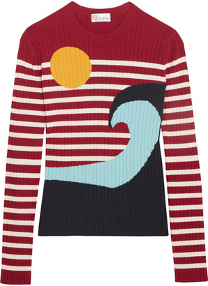 REDValentino - Intarsia Ribbed-knit Sweater - xx small $495 thestylecure.com