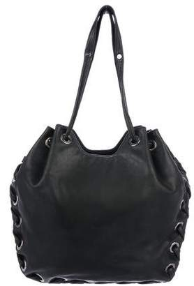 Roger Vivier Leather Grommet-Accented Tote