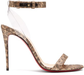 Christian Louboutin Jonatina 100 Leopard Print Leather Sandals - Womens - Leopard
