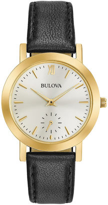 Bulova Womens Gold Tone And Black Classic Leather Strap Watch 97L159 $149.25 thestylecure.com
