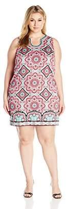 London Times Women's Sleeveless Notch Neck Cotton Shift Dress