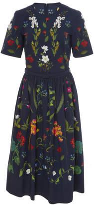 Oscar de la Renta Floral Embroidered Stretch-Cotton Midi Dress
