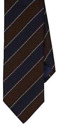 Barneys New York MEN'S TEXTURED-STRIPED SILK-COTTON JACQUARD NECKTIE - BROWN