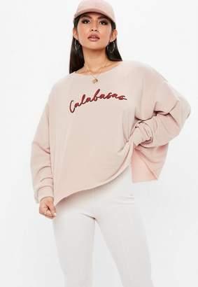 Missguided Nude Calabasas Cropped Sweatshirt