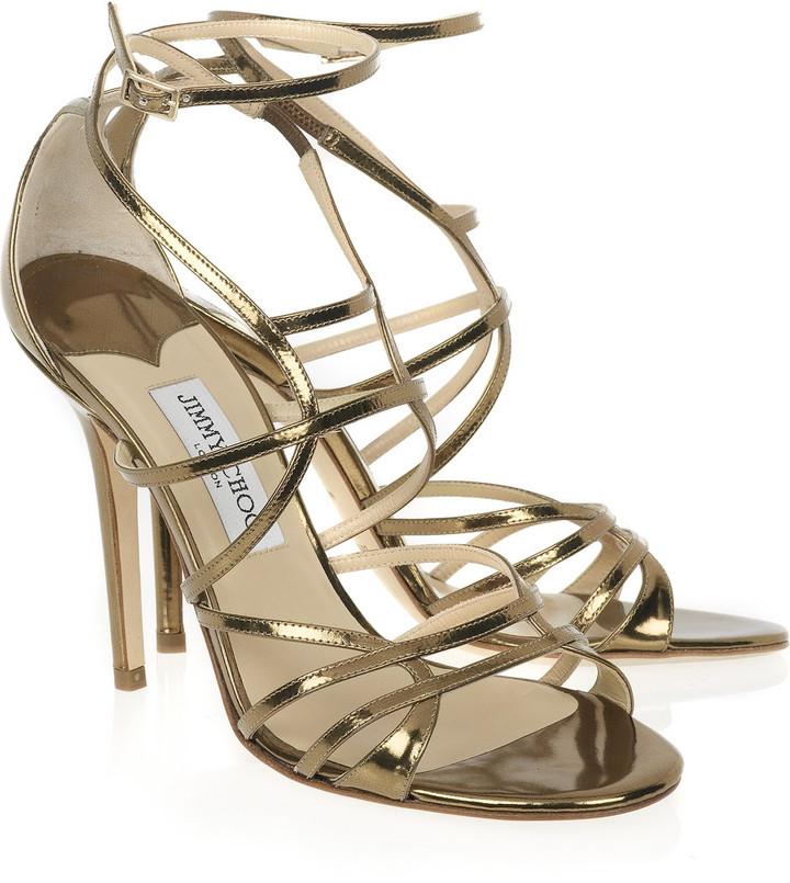 Jimmy Choo Flynn mirrored leather sandals