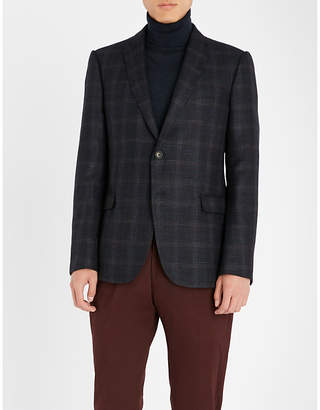 Emporio Armani Regular-fit checked wool-blend jacket