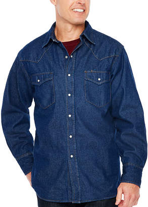 Ely Cattleman Flannel Lined Denim Snap-Front Shirt - Big and Tall