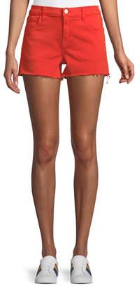 J Brand Low-Rise Shorts w/ Frayed Hem