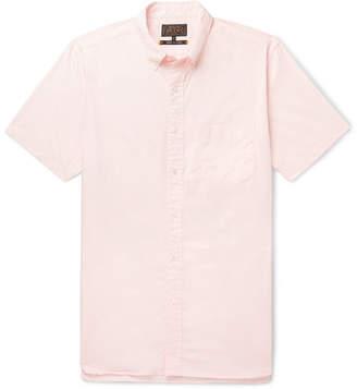Beams Button-down Collar Cotton Shirt - Pink