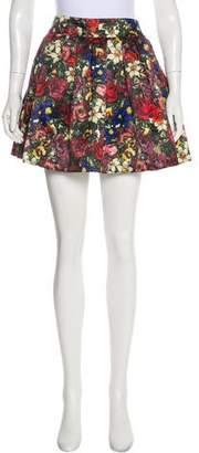 Alice + Olivia Flared Floral Mini Skirt