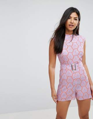 Asos Playsuit With High Neck And Belt In Retro Floral Print