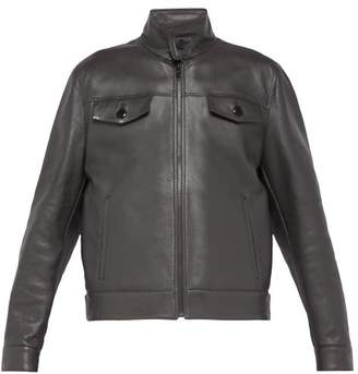 Prada Racer Leather Jacket - Mens - Grey