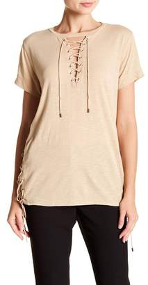 Haute Hippie Short Sleeve Lace-Up Tee