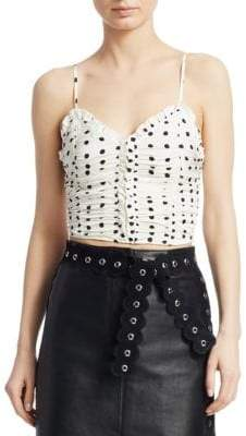 Maje Lenota Polka-Dot Crop Top