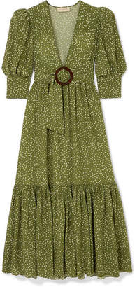 Adriana Degreas Mille Punti Belted Polka-dot Silk Crepe De Chine Maxi Dress - Green