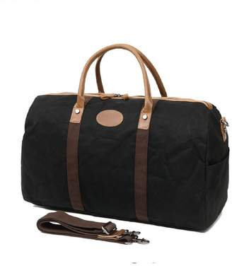 EAZO - Waxed Canvas & Vintage Leather Holdall In Black