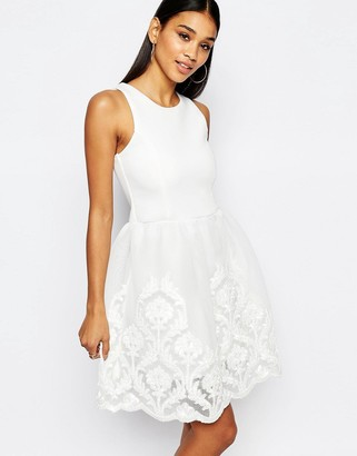 Lipsy Full Prom Skater Dress With Lace Embroidered Skirt $106 thestylecure.com