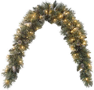 clear National Tree Company 6' Glittery Bristle Pine Mantle Swag with Pine Cones and 50 Lights