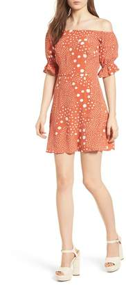 The Fifth Label Peppers Polka Dot Off the Shoulder Dress
