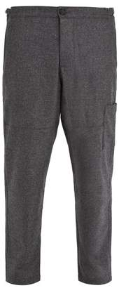 Oliver Spencer Judo Tapered Leg Cropped Wool Trousers - Mens - Grey