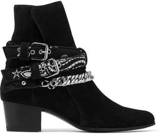 Bandana Buckled Suede Ankle Boots - Black