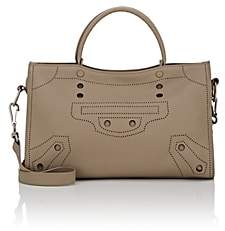 Balenciaga Women's Blackout City Small Leather Bag-Gray