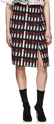Prada Women's Lipstick-Print Cotton Canvas Foldover Skirt