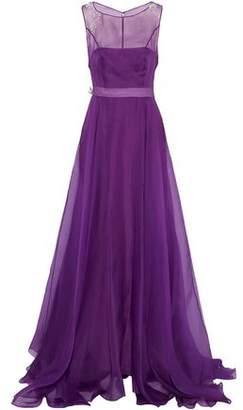 Carolina Herrera Grosgrain-Trimmed Embellished Organza Gown