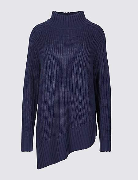 Twiggy for M&S Collection Textured Funnel Neck Longline Jumper