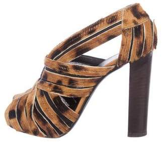 Pierre Hardy Peep-Toe Ponyhair Sandals