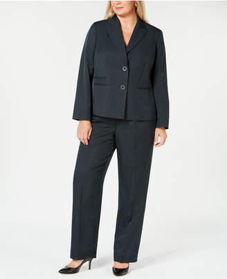 Le Suit Plus Size Two-Button Striped Pantsuit