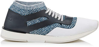 Jimmy Choo JAMIR Aqua Mix Knit Fabric and Vacchetta Low Top Trainer