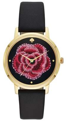 Kate Spade Metro Rose Leather Strap Watch, 38mm