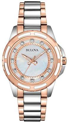 Bulova Diamond Women's Quartz Watch with Mother of Pearl Dial Analogue Display and Rose Gold/Silver Ion-Plated Bracelet 98P134