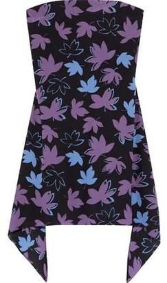 Versace Strapless Floral-print Silk-crepe Mini Dress