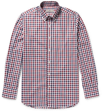 Canali Button-Down Collar Gingham Checked Cotton-Poplin Shirt