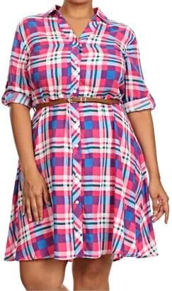 Moa Plaid Belted Plus Dress