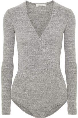 Madewell Wrap-effect Mélange Stretch Cotton-blend Bodysuit - Gray