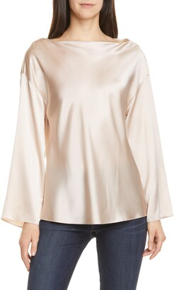 Vince Side Drape Long Sleeve Silk Blouse
