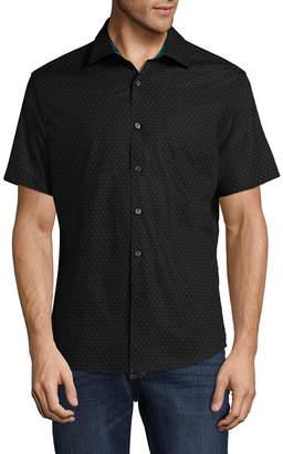 Claiborne Short Sleeve Novelty Button-Front Shirt
