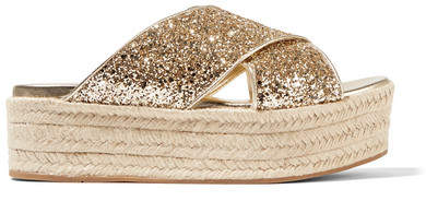 Miu Miu - Glittered Leather Espadrille Platform Sandals - Gold