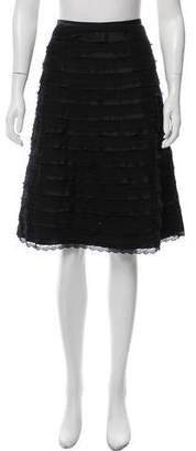 BCBGMAXAZRIA Lace & Satin-Tiered Skirt