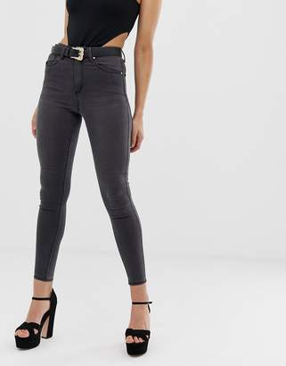 Asos Design DESIGN 'Sculpt me' high waisted premium jeans in dark smokey gray wash