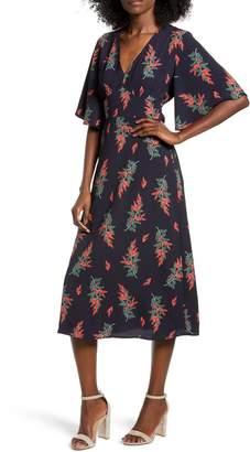 All in Favor Floral Print V-Neck Midi Dress