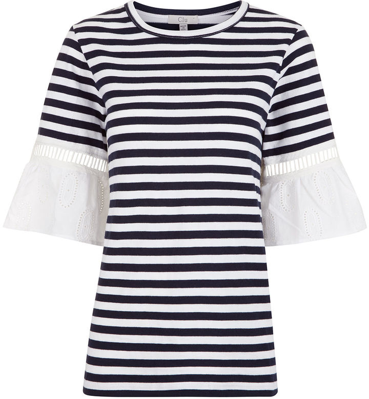 Clu Clu Navy & White Striped Lace Cuff T-Shirt