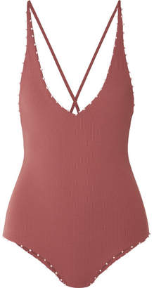 Marysia Swim Torrey Knotted Stretch-crepe Swimsuit - Brick