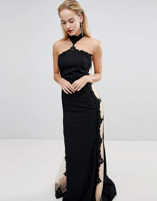 Forever Unique Halter Neck Maxi Dress With Insert