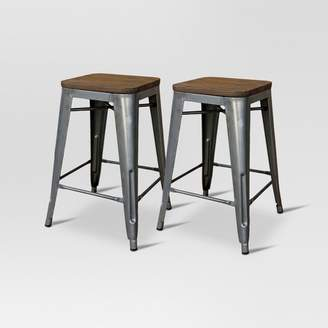 "Threshold Hampden Industrial Wood Top 24"" Counter Stool Metal"