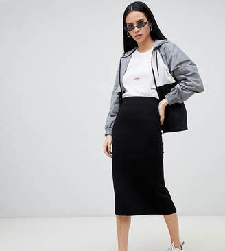 Monki midi jersey pencil skirt in black