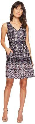 Vince Camuto Printed V-Neck Fit and Flare Women's Dress